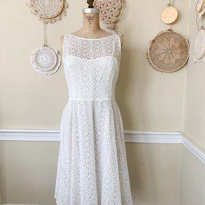 Nine West White Lace Fit & Flare Dress Sz 10